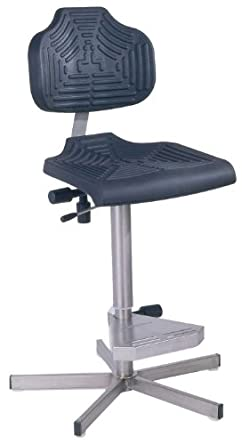 "Milagon EDJ WS1411 Polyurethane Workseat on Stainless Steel Base Chair, High Profile, 24""-34"" Adjustment Height"