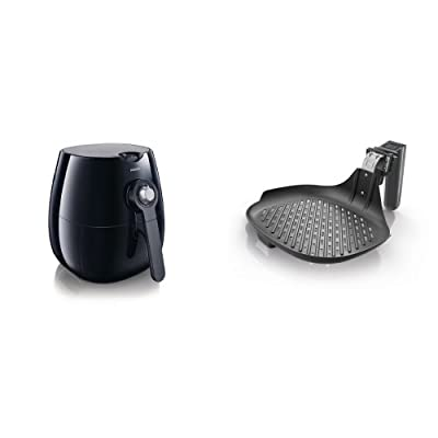 Philips AirFryer, the original Airfryer with Rapid Air Technology, Black, HD9220/26 and Philips HD9910/21 Fry/Grill Pan, Black Bundle