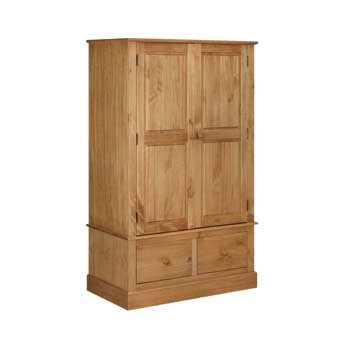 COTSWOLD PINE 2 DOOR 2 DRAWER WIDE WARDROBE WAXED COUNTRY STYLE