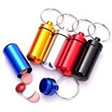 Set of 4 - Aluminum Keychain Pill Case Container, Key Chain Medicine Box Drug Holder, Small colors vary