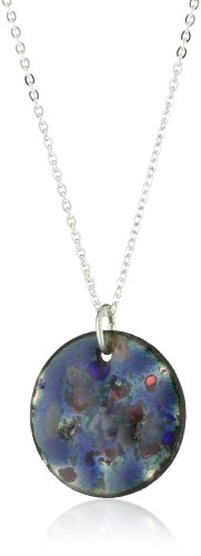 Leighelena Mini Enamel Blue Frit Pendant Necklace