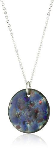 Leighelena Mini Enamel Blue Frit Pendant Necklace