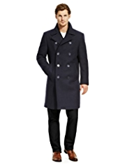 Autograph Wool Blend Double Breasted Coat