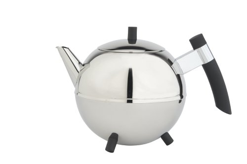 Bredemeijer Meteor Double Walled Teapot, 1.2-Liter Stainless Steel Glossy Finish With Black Accents