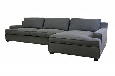 Baxton Studio Kaspar Fabric Modern Sectional Sofa, Slate Gray