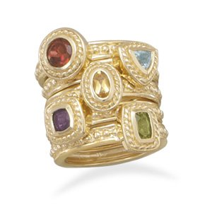 Plated Brass Multistone Fashion Ring / Size 8