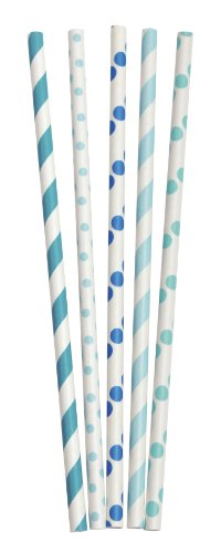 Party Partners Design Retro Dots and Stripes Paper Straws, Blue/Green, 25 Count