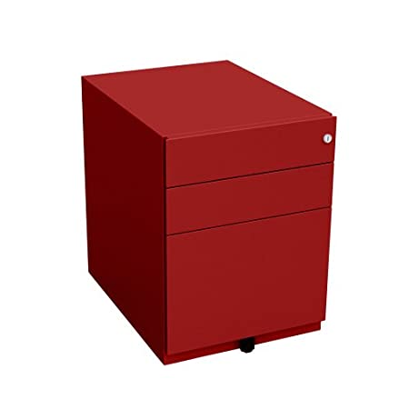 Bisley NWA5AM7IIF 56 cm Note Pedestal 2 Stationery and 1 Filing Drawer - Cardinal Red