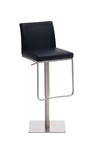 CLP Edelstahl Barhocker PANAMA, aus bis zu 9 Polsterfarben wählen, Sitzhöhe 58 - 82 cm, drehbar, mit Fußstütze schwarz