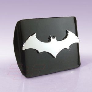 "Batman ""Black and Chrome ""3D Bat"" Emblem"" Metal Trailer Hitch Cover Fits 2 Inch Auto Car Truck Receiver"