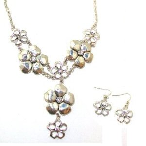 Just Give Me Jewels Silvertone Necklace with Tiered Flower Links and Rhinestone Accents with Flower Earrings