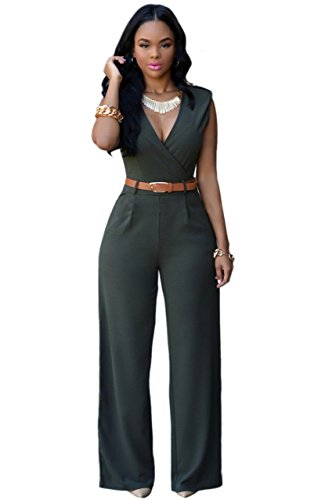Dlgjpa Women's Rompers Jumpsuits Long Wide Leg Dressy Sleeves One piece Jumpsuits Pants green X-Large (Cocktail Pant Suits compare prices)