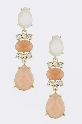 Baubles & Co Oval Faceted Jewel Earrings (Peach) front-952036