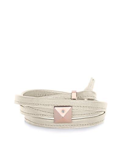Alberto Moore Women's Genuine Leather Multi Wrap Bracelet with Rosedtone Pyramid Stud, Pearl Gray