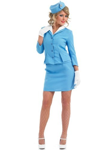 Retro Blue Cabin Crew Fancy Dress Costume/. Sizes S to XXL