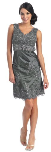 Elegant Cocktail Party Dress Jr Prom Gown #504 (8, Silver)