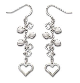 Sterling Silver Open And Puffed Heart Dangle Earrings