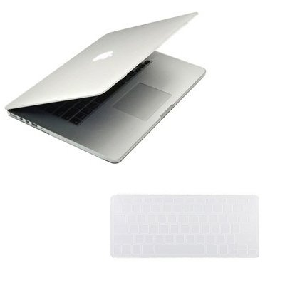 """Easygoby 2 In 1 Retina 15-Inch Rubberized Matte Silky-Smooth Soft-Touch Hard Case For Macbook Pro 15.4"""" With Retina Display (Model No.: A1398) Shell Cover+ Keyboard Cover - Clear Frost front-199592"""