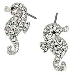 Small Adorable Sparkling Clear Crystal Seahorse Stud Earrings Silver with Rhodium Plating
