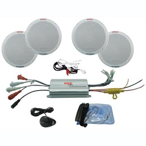 Pyle PLMRKT4A 4-Channel Waterproof MP3/iPod Amplified 6.5-Inch Marine Speaker System