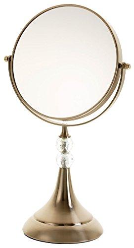 Danielle Enterprises Satin Nickel 10X Magnification Trumpet Mirror With Glass Gems, Satin Nickel front-440243