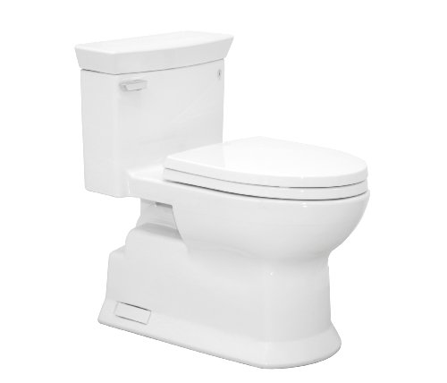 TOTO MS964214CEFG-01 Eco Soiree Elongated One Piece Toilet with Chrome Plated Sanagloss, Cotton White