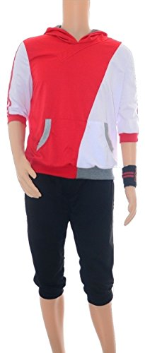[Men's Pokemon GO style Hoodie costume Halloween cosplay (M, Red)] (Pokemon Character Costumes)