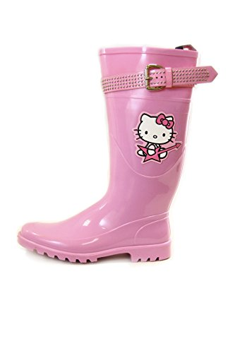 Hello Kitty PVC Rain Boots with Studded Strap and Buckle Colors Lilac, Pink and Dark Blue (38 EU, Pink)