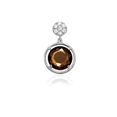 New Pendant Necklace Jewelry Sterling Silver Plated Small CZ Circle w/ Hanging Brown Topaz Circle CZ Design(WoW !With Purchase Over $50 Receive A Marcrame Bracelet Free)