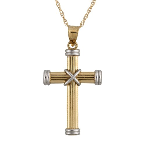 10k Yellow Gold Two-Tone X-Cross Pendant Necklace , 18