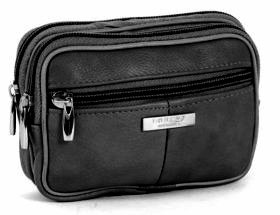Black Leather Bag with Belt Loop - 3 Compartments / Phone / Wallet / CameraCase etc