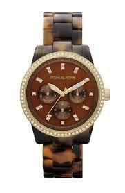 Michael Kors Glitz Boyfriend Watch Tortoise Bracelet Gold Tone Case Mk5280