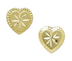 14k Yellow Gold Heart Stamping Earrings - Measures 8x8mm - JewelryWeb