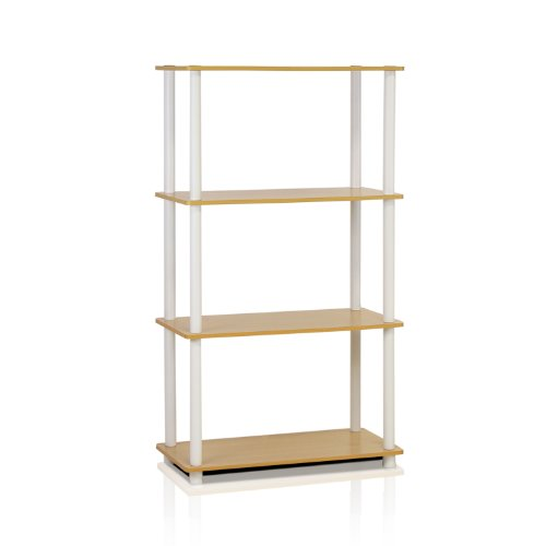 Furinno 99557BE/WH Turn-N-Tube 4-Tier Compact Multipurpose Shelf, Beech/White (White Storage Shelves compare prices)