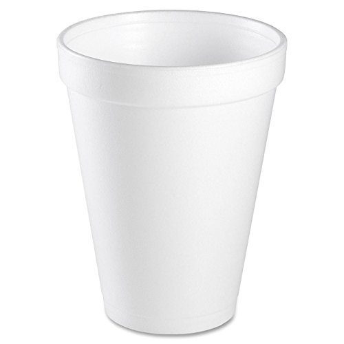 "Dart 12J12 12 Oz Capacity, 3.5"" Top And 2.1"" Bottom Diameter, 4.4"" Height, White Insulated Foam Cup (2 Packs Of 25) By A World Of Deals®"