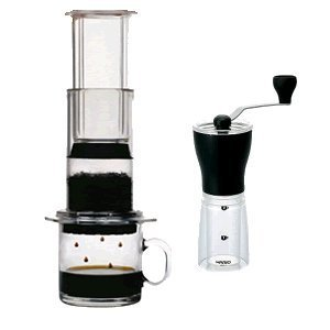 Aerobie Aeropress and Hario Mini Mill Grinder Package (Hario Slim Grinder compare prices)