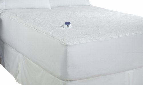 Soft Heat Micro-Plush Top Low-Voltage Electric Heated Queen Mattress Pad, White
