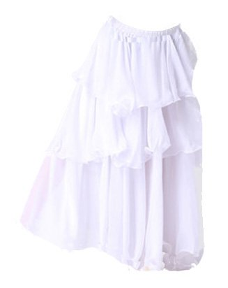 Layered Long Belly Dance Skirt Fit UK Size 6 to 14 (White Without Belt