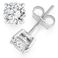 1/2 Carat D/VS1 Round Brilliant Certified Diamond Solitaire Stud Earrings in 18ct Solid White Gold