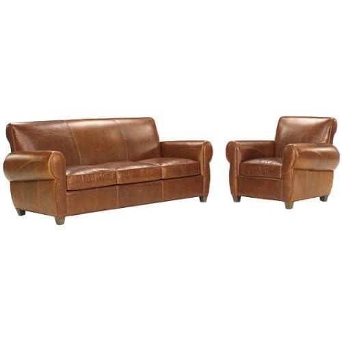 Tribeca Designer Style Rustic Leather Furniture Sleeper
