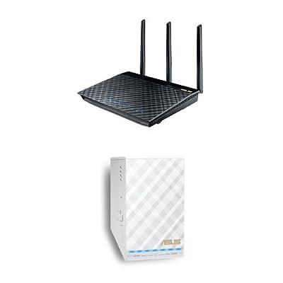 ASUS RT-AC66U Dual-Band Wireless-AC1750 Gigabit Router & ASUS ASUS RP-AC52 AC750 Repeater / Access Point / Media Bridge (RP-AC52)