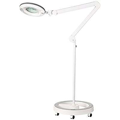 Brightech - LightView Pro Dimmable LED Magnifier Floor Lamp with 6-Wheel Rolling Base - Built with Cool White / Warm White Color Temperature Adjusting LED's - SuperBright with 90 LED's
