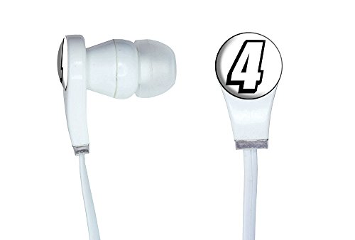 4 Number Four Novelty In-Ear Earbud White Headphones
