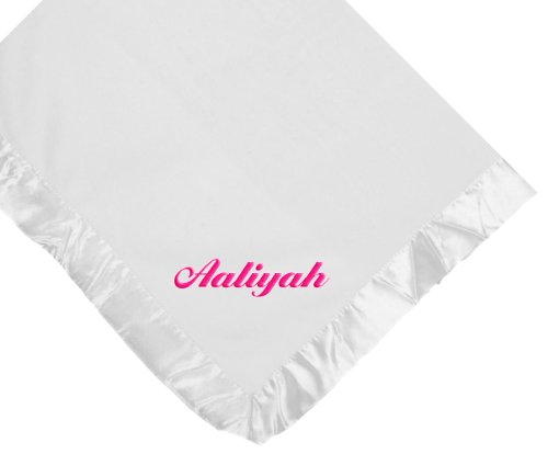 Custom Embroidered Monogrammed Name Girl White Fleece Personalized Baby Blanket Yellow Thread front-401140