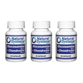 Natural Systems 3 Pack Glucosamine 500 Mg + Chondroitin 400 Mg 60 Capsules Joints Health