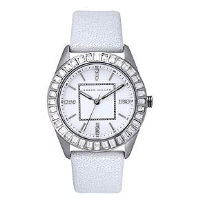 Karen Millen White Round Ladies Watch - K088