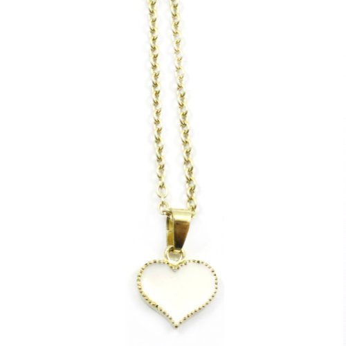 Zehui Fashion White Korean Style Lovely Cute Love Heart Alloy Necklace