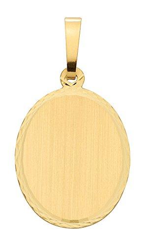 Damen Schmuck Gold Gravurplatte oval aus 585 Gelb Gold ( 14,2 x 17,5 mm ) günstig