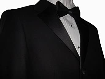 Giorgio Fiorelli Men Tuxedo Suit Solid Black Super 150's Premium Quality Textile 3 Button Single Pleat Pants Brand New with Tag FREE Bow Tie FREE Hem-Up FREE Shipping (54R)