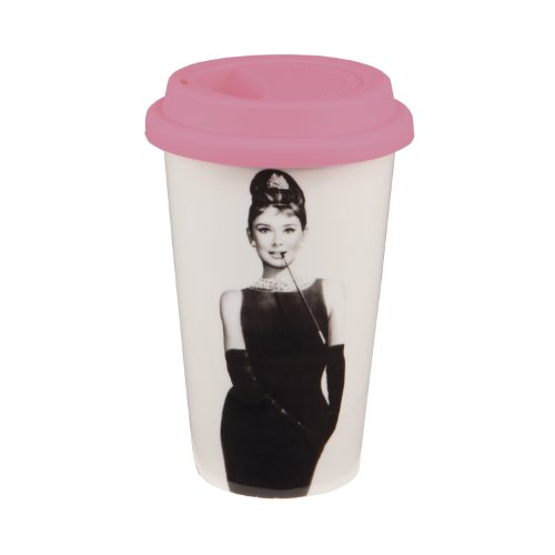 Vandor Audrey Hepburn Breakfast At Tiffany'S 12-Ounce Double Wall Ceramic Travel Mug With Silicone Lid, Pink, Black And White